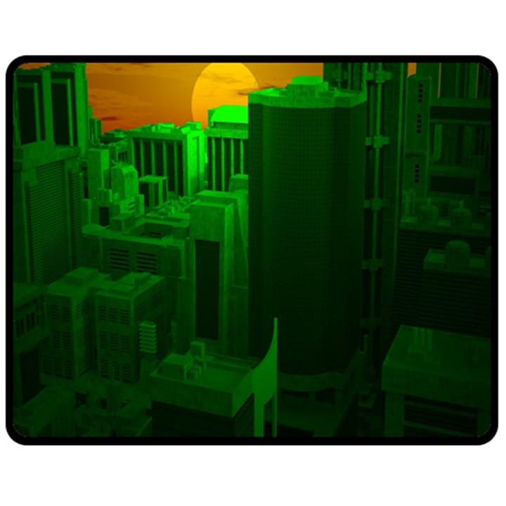 Green Building City Night Fleece Blanket (Medium)