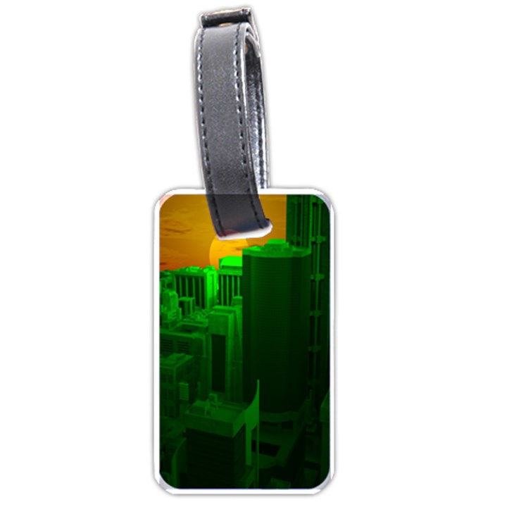 Green Building City Night Luggage Tags (Two Sides)