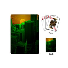 Green Building City Night Playing Cards (Mini)