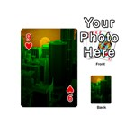 Green Building City Night Playing Cards 54 (Mini)  Front - Heart9