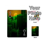 Green Building City Night Playing Cards 54 (Mini)  Front - Spade7