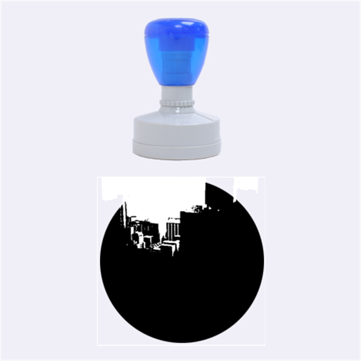 Green Building City Night Rubber Round Stamps (Medium)
