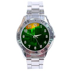 Green Building City Night Stainless Steel Analogue Watch