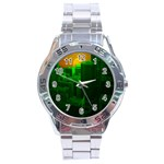 Green Building City Night Stainless Steel Analogue Watch Front