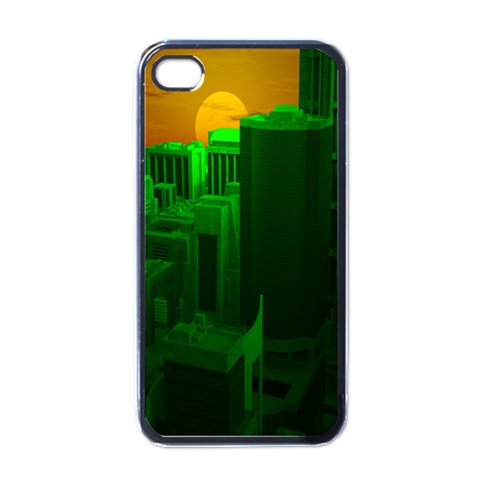 Green Building City Night Apple iPhone 4 Case (Black)