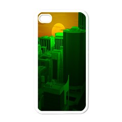 Green Building City Night Apple iPhone 4 Case (White)