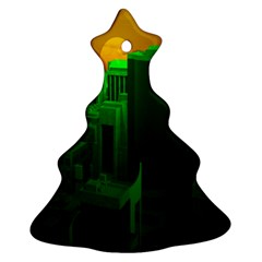 Green Building City Night Christmas Tree Ornament (2 Sides)
