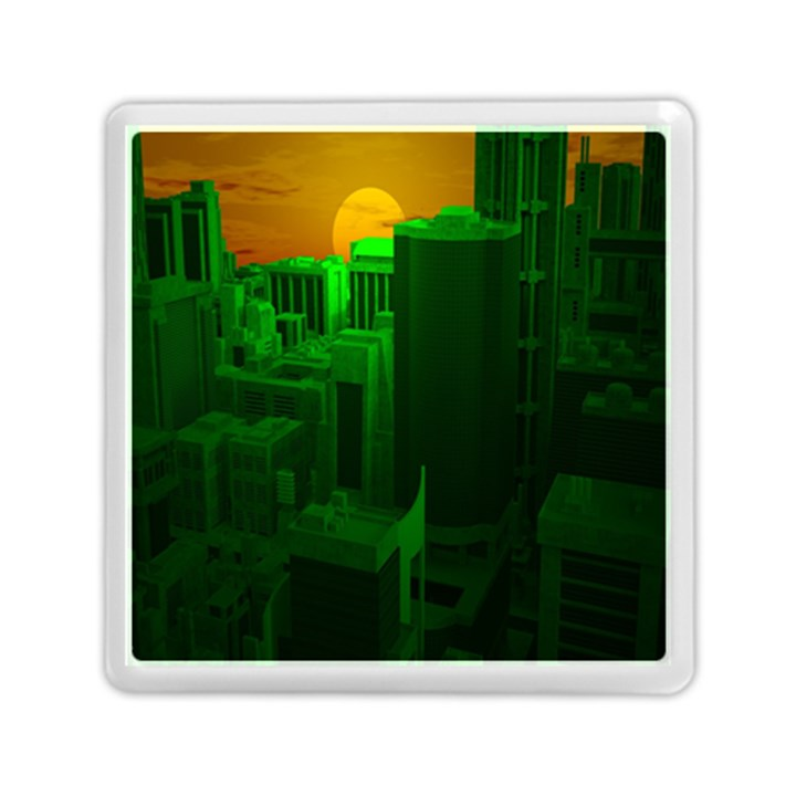 Green Building City Night Memory Card Reader (Square)