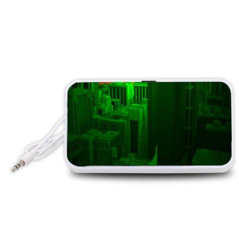Green Building City Night Portable Speaker (White)