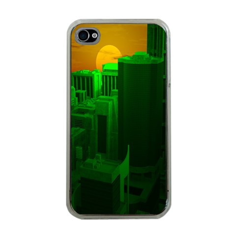 Green Building City Night Apple iPhone 4 Case (Clear)