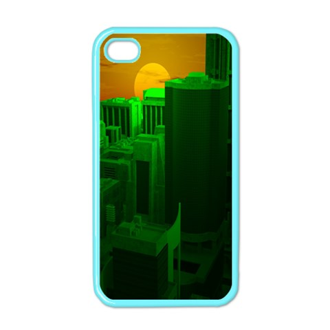 Green Building City Night Apple iPhone 4 Case (Color)