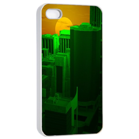 Green Building City Night Apple iPhone 4/4s Seamless Case (White)