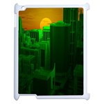 Green Building City Night Apple iPad 2 Case (White) Front