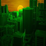 Green Building City Night Happy Birthday 3D Greeting Card (8x4) Inside