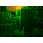 Green Building City Night BOY 3D Greeting Card (7x5) Front