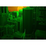 Green Building City Night Heart Bottom 3D Greeting Card (7x5) Front