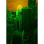 Green Building City Night Heart Bottom 3D Greeting Card (7x5) Inside