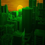 Green Building City Night Twin Heart Bottom 3D Greeting Card (8x4) Inside