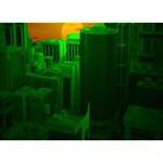 Green Building City Night THANK YOU 3D Greeting Card (7x5) Back