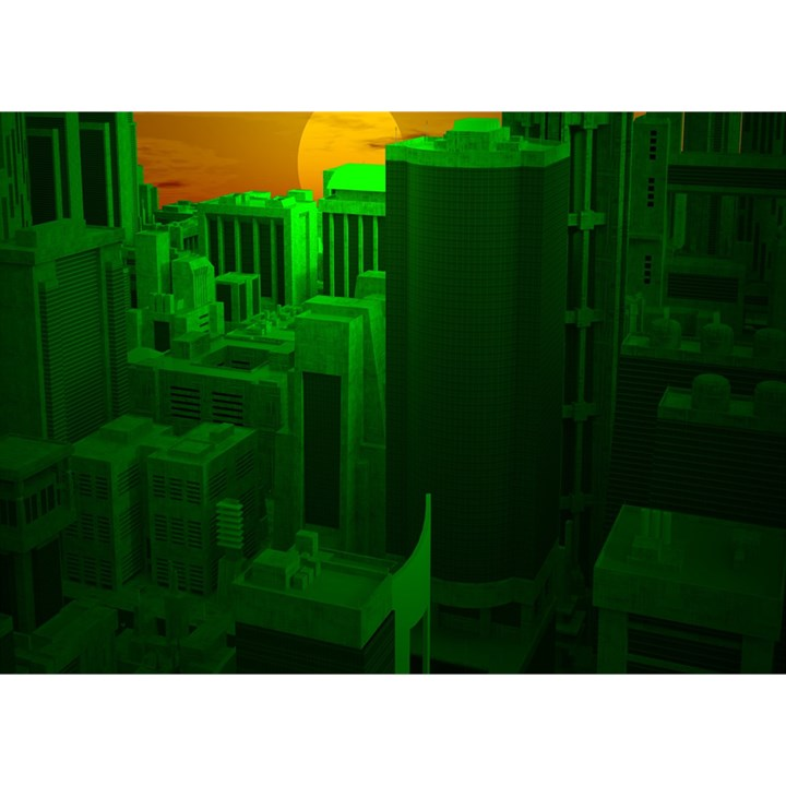 Green Building City Night Birthday Cake 3D Greeting Card (7x5)