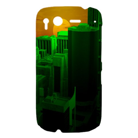 Green Building City Night HTC Desire S Hardshell Case