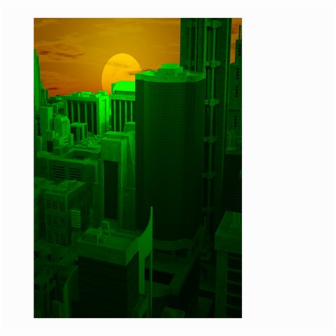 Green Building City Night Small Garden Flag (Two Sides)