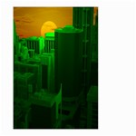 Green Building City Night Small Garden Flag (Two Sides) Back