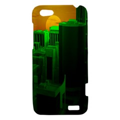 Green Building City Night HTC One V Hardshell Case