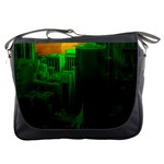 Green Building City Night Messenger Bags Front