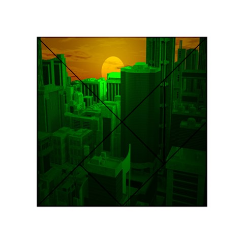 Green Building City Night Acrylic Tangram Puzzle (4  x 4 )