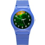 Green Building City Night Round Plastic Sport Watch (S) Front