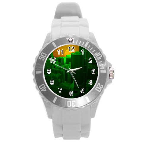 Green Building City Night Round Plastic Sport Watch (L)