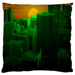 Green Building City Night Large Cushion Case (Two Sides) Back