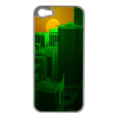 Green Building City Night Apple iPhone 5 Case (Silver)