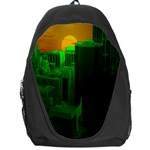Green Building City Night Backpack Bag Front