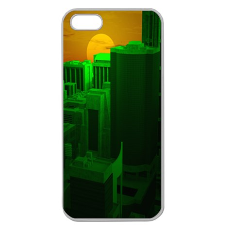 Green Building City Night Apple Seamless iPhone 5 Case (Clear)