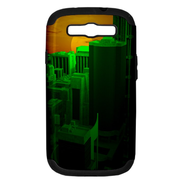 Green Building City Night Samsung Galaxy S III Hardshell Case (PC+Silicone)