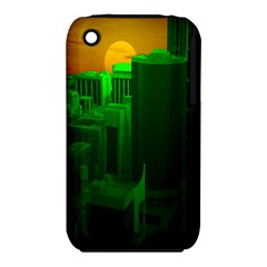 Green Building City Night Apple iPhone 3G/3GS Hardshell Case (PC+Silicone)