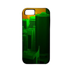 Green Building City Night Apple iPhone 5 Classic Hardshell Case (PC+Silicone)