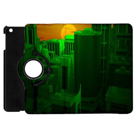 Green Building City Night Apple iPad Mini Flip 360 Case