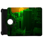 Green Building City Night Kindle Fire HD Flip 360 Case Front