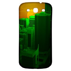 Green Building City Night Samsung Galaxy S3 S III Classic Hardshell Back Case