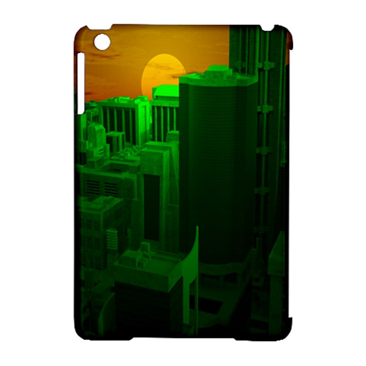 Green Building City Night Apple iPad Mini Hardshell Case (Compatible with Smart Cover)