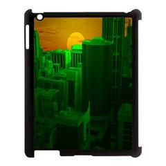Green Building City Night Apple iPad 3/4 Case (Black)