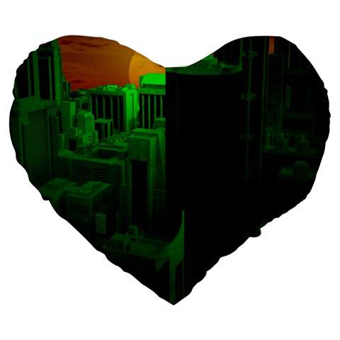 Green Building City Night Large 19  Premium Heart Shape Cushions