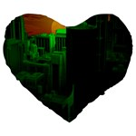 Green Building City Night Large 19  Premium Heart Shape Cushions Front