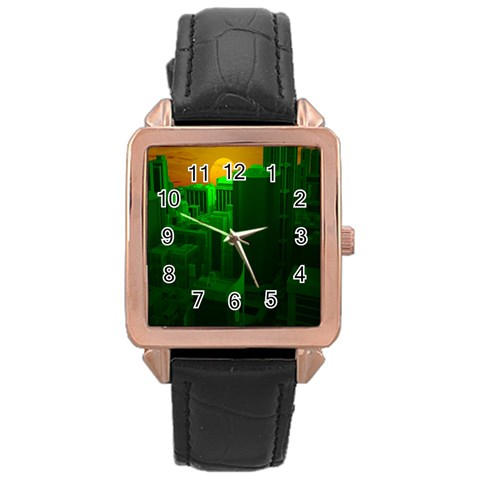 Green Building City Night Rose Gold Leather Watch