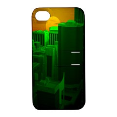 Green Building City Night Apple iPhone 4/4S Hardshell Case with Stand