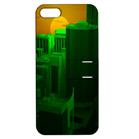Green Building City Night Apple iPhone 5 Hardshell Case with Stand