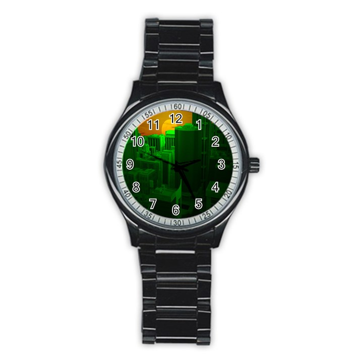 Green Building City Night Stainless Steel Round Watch